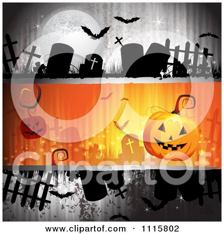 Clipart Grungy Halloween Background With Tombstones And A Jackolantern 2 - Royalty Free Vector Illustration by merlinul