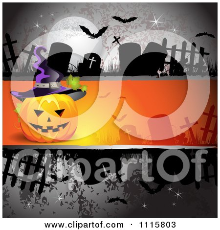 Clipart Dark Halloween Background With Tombstones And A Jackolantern - Royalty Free Vector Illustration by merlinul