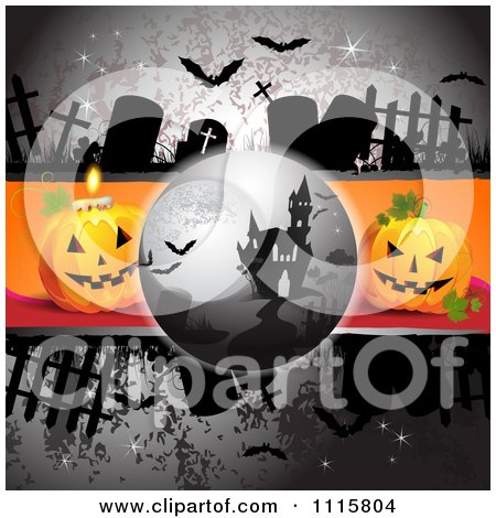 Clipart Bats And A Haunted House On A Grungy Cemetery Halloween Background With Jackolanterns - Royalty Free Vector Illustration by merlinul