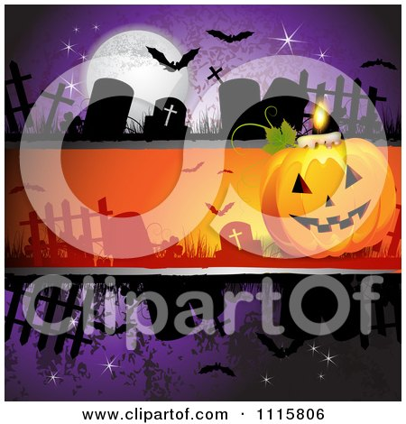 Clipart Purple Halloween Background With Tombstones And A Jackolantern - Royalty Free Vector Illustration by merlinul