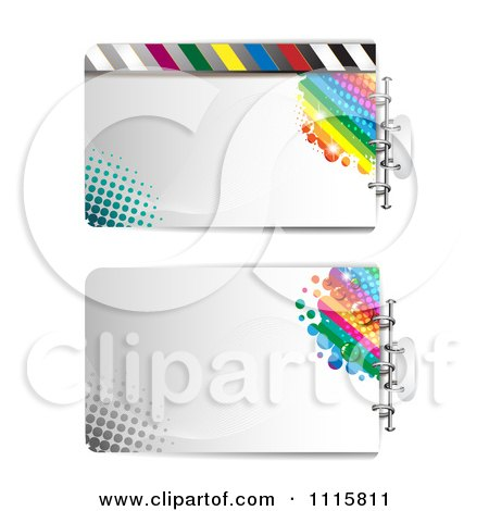 Clipart Two Film Frames With Halftone And Rainbows - Royalty Free Vector Illustration by merlinul