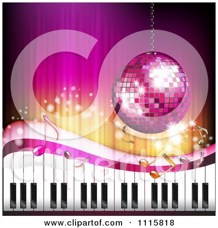 Clipart Pink Piano Keyboard Music Note And Disco Ball Background - Royalty Free Vector Illustration by merlinul