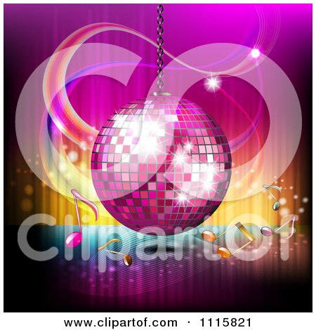 Clipart Pink Disco Ball And Music Notes Over Gradient 2 - Royalty Free Vector Illustration by merlinul