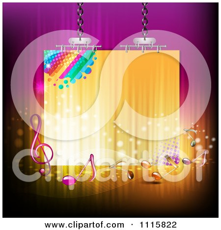 Clipart Suspended Sign With Music Notes On Gradient - Royalty Free Vector Illustration by merlinul