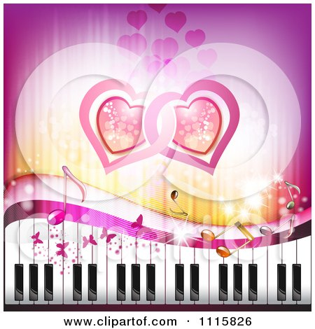Butterfly Wallpaper on Clipart Pink Piano Keyboard Music Note Heart And Butterfly Background