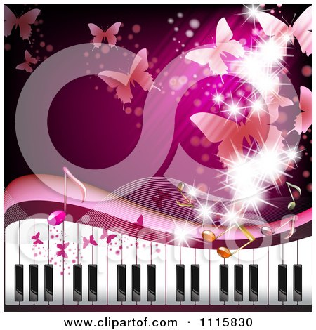 Clipart Pink Piano Keyboard Background With Butterflies - Royalty Free Vector Illustration by merlinul