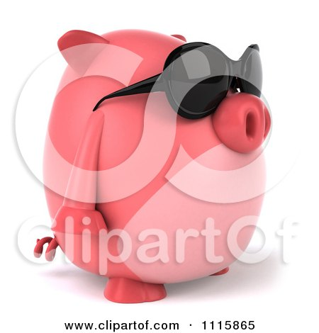 Clipart 3d Chubby Pig Wearing Sunglasses And Facing Right - Royalty Free CGI Illustration by Julos
