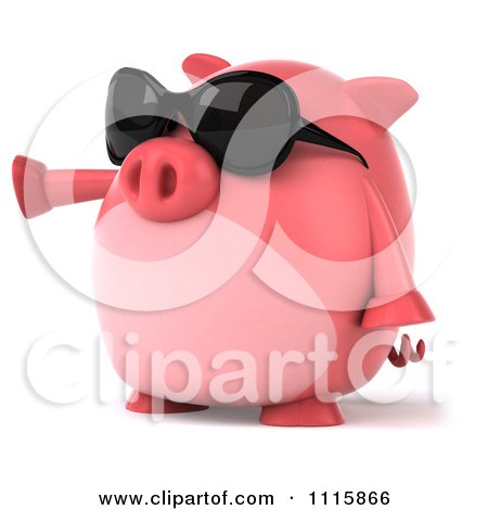 Clipart 3d Chubby Pig Wearing Sunglasses And Pointing Left - Royalty Free CGI Illustration by Julos