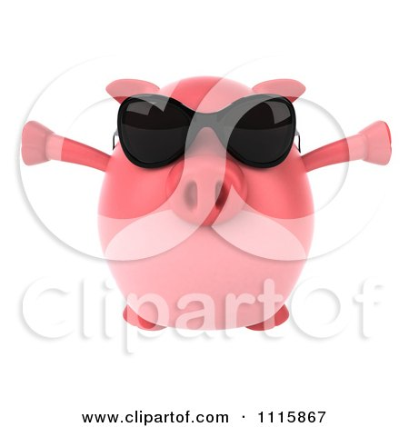 Clipart 3d Chubby Pig Wearing Sunglasses Jumping And Facing Front - Royalty Free CGI Illustration by Julos