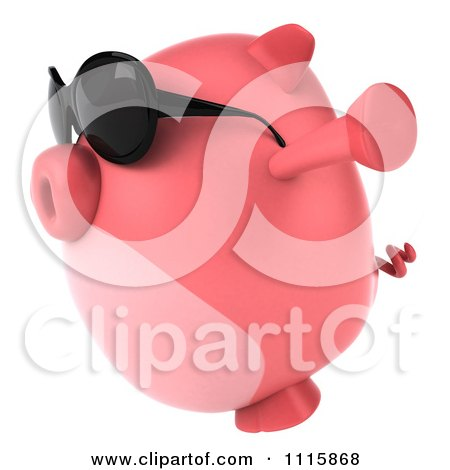 Clipart 3d Chubby Pig Wearing Sunglasses Jumping And Facing Left - Royalty Free CGI Illustration by Julos