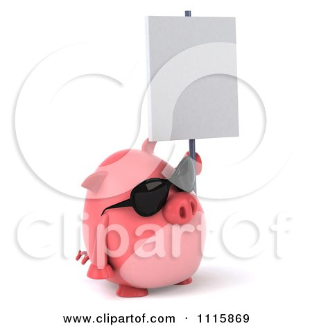 Clipart 3d Chubby Pig Wearing Sunglasses Facing Right And Holding A Sign - Royalty Free CGI Illustration by Julos