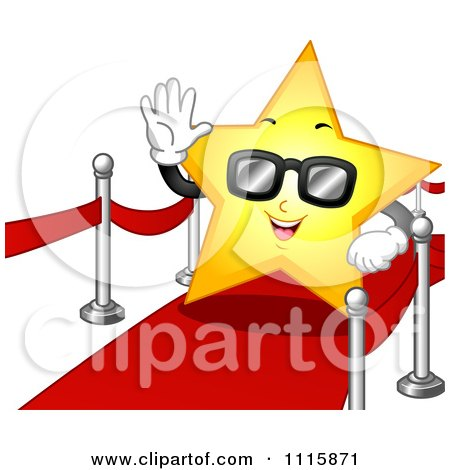 Clipart Famous Star Wearing Sunglasses And Waving On The Red Carpet - Royalty Free Vector Illustration by BNP Design Studio