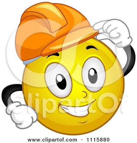 Clipart Construction Worker Smiley Tipping His Hard Hat - Royalty Free Vector Illustration by BNP Design Studio