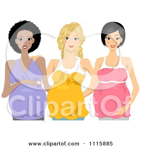 Happy Pregnant Black Caucasian And Asian Women Posing Together Posters, Art Prints