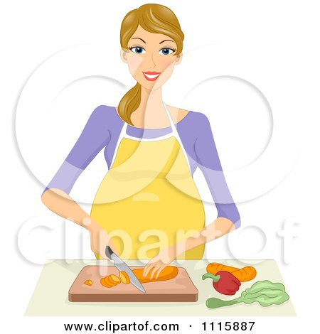 Clipart Happy Blond Pregnant Woman Chopping Veggies - Royalty Free Vector Illustration by BNP Design Studio