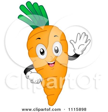 Clipart Happy Waving Carrot Mascot - Royalty Free Vector Illustration by BNP Design Studio