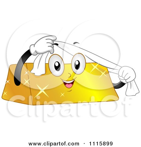Clipart Happy Gold Bar Mascot Using A Shining Cloth - Royalty Free Vector Illustration by BNP Design Studio