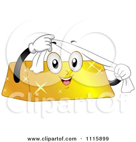 Happy Gold Bar Mascot Using A Shining Cloth Posters, Art Prints