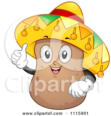 Clipart  Happy Potato Mascot Holding A Thumb Up And Wearing A Sombrero - Royalty Free Vector Illustration by BNP Design Studio