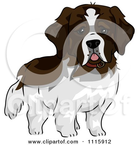 Clipart Cute St Bernard Dog - Royalty Free Vector Illustration by BNP Design Studio