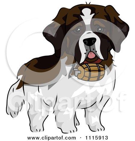 Clipart Cute St Bernard Dog With A Barrel - Royalty Free Vector Illustration by BNP Design Studio