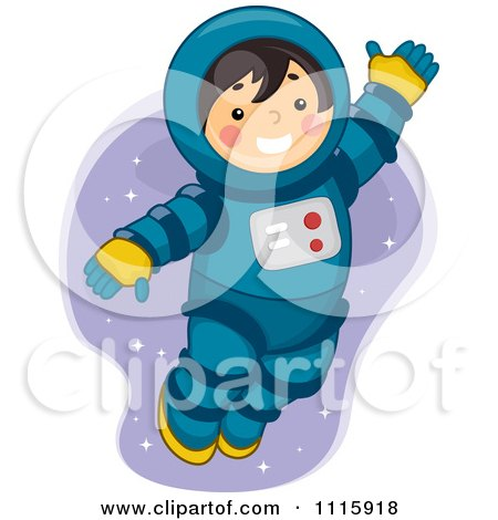 Clipart Cute Astronaut Boy Playing In Space - Royalty Free Vector Illustration by BNP Design Studio