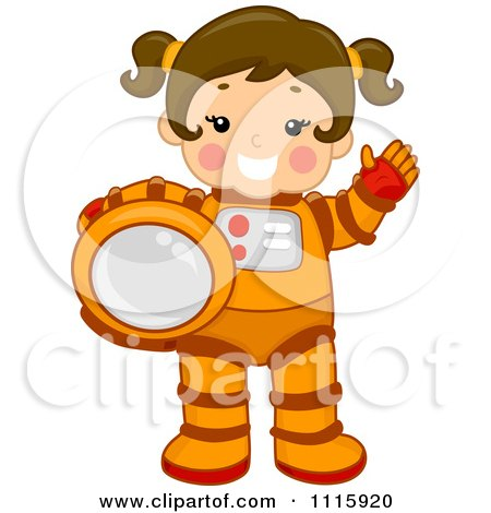 Clipart Cute Girl Astronaut Holding Her Helmet And Waving - Royalty Free Vector Illustration by BNP Design Studio