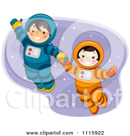 Clipart Cute Boy And Girl Astronauts Holding Hands And Floating In Space - Royalty Free Vector Illustration by BNP Design Studio