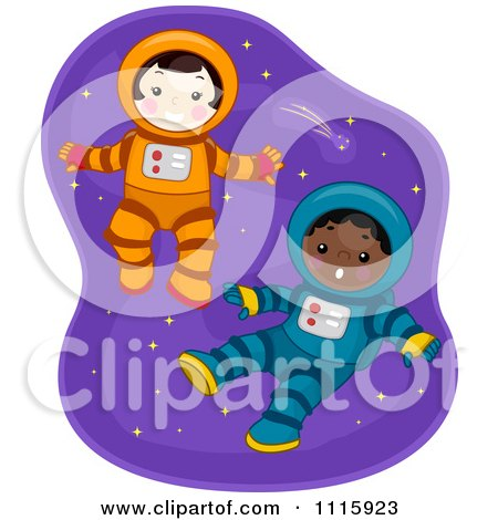 Clipart Cute Boy And Girl Astronauts Floating In Space - Royalty Free Vector Illustration by BNP Design Studio