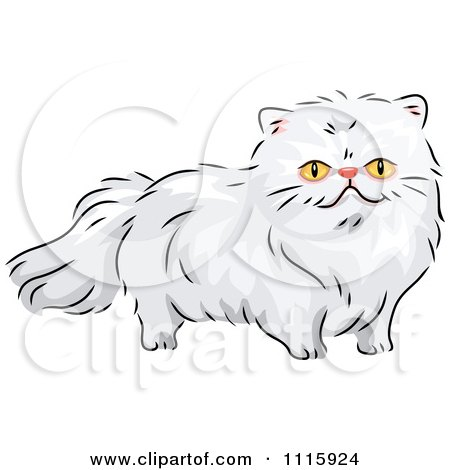 Clipart Long Haired White Persian Cat - Royalty Free Vector Illustration by BNP Design Studio