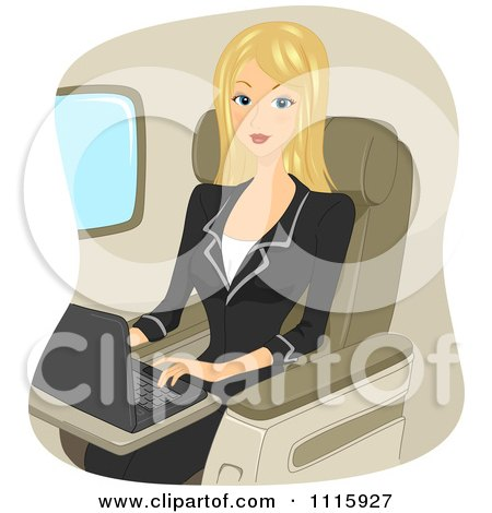 Clipart Traveling Blond Businseswoman Using A Laptop On A Plane - Royalty Free Vector Illustration by BNP Design Studio