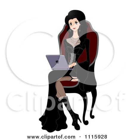 Clipart Gothic Woman Using A Laptop In A High Back Chair - Royalty Free Vector Illustration by BNP Design Studio