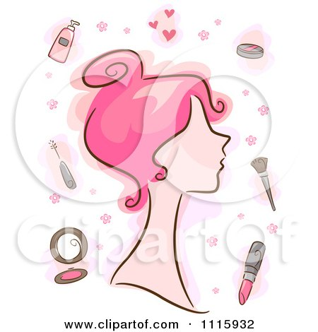 Clipart Pink Haired Woman With Makeup Items - Royalty Free Vector Illustration by BNP Design Studio