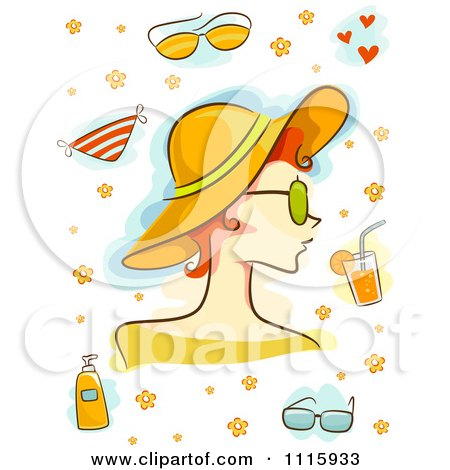 Clipart Summer Woman With A Hat And Other Items - Royalty Free Vector Illustration by BNP Design Studio