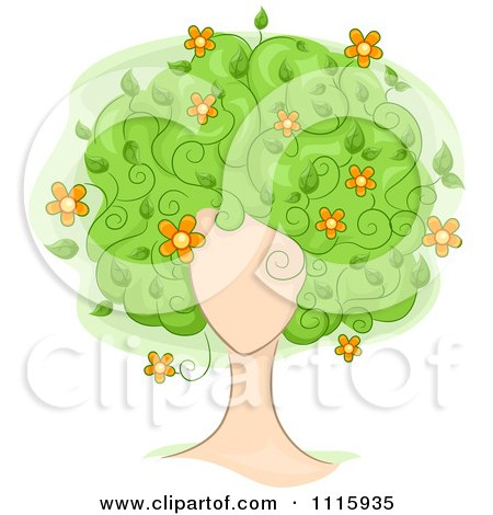 Clipart Womans Face With Floral Tree Hair - Royalty Free Vector Illustration by BNP Design Studio