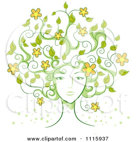 Clipart Womans Face With Vine Hair And Flowers - Royalty Free Vector Illustration by BNP Design Studio