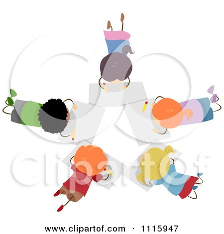 Clipart Diverse Kids Drawing In A Circle - Royalty Free Vector Illustration by BNP Design Studio