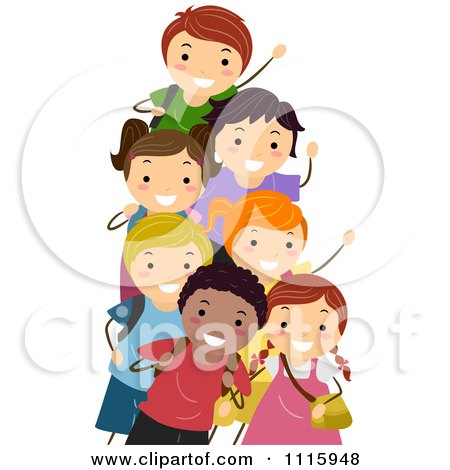 Clipart Happy Diverse School Kids Waving - Royalty Free Vector Illustration by BNP Design Studio