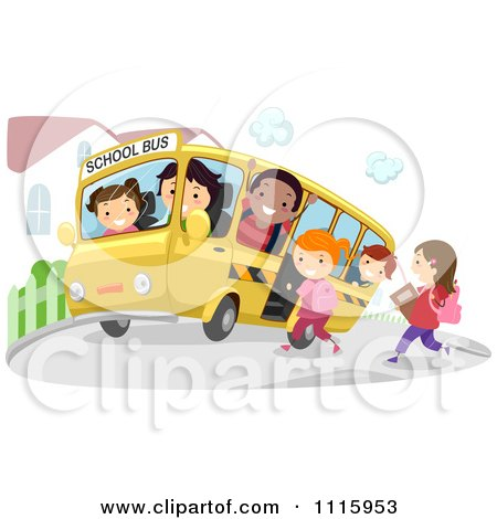 Clipart Happy Diverse Kids On A School Bus At A Stop - Royalty Free Vector Illustration by BNP Design Studio