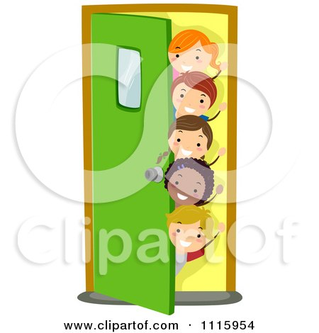 Clipart Happy Diverse School Kids Waving And Peeking Around A Door - Royalty Free Vector Illustration by BNP Design Studio