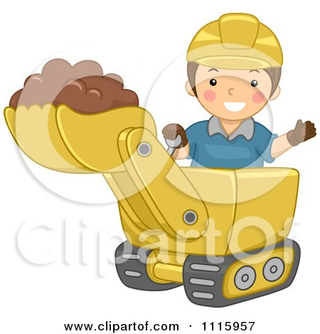 Clipart Happy Boy Operating A Bulldozer - Royalty Free Vector Illustration by BNP Design Studio