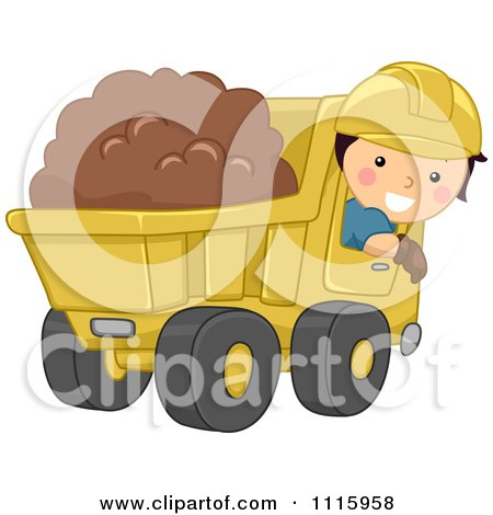Clipart Happy Boy Operating A Dump Truck - Royalty Free Vector Illustration by BNP Design Studio