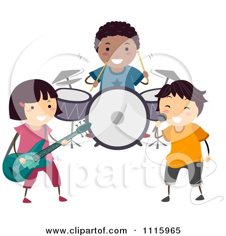 Clipart Happy Diverse Kids In A Band - Royalty Free Vector Illustration by BNP Design Studio