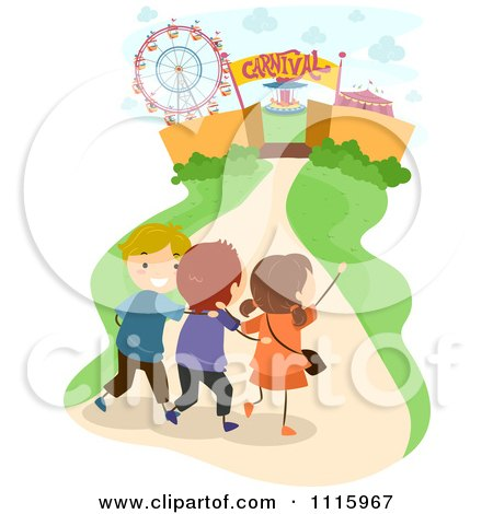 Clipart Happy Kids Walking To A Carnival - Royalty Free Vector Illustration by BNP Design Studio