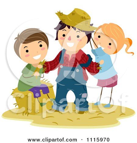 Clipart Happy Kids Dressing Up A Scarecrow - Royalty Free Vector Illustration by BNP Design Studio