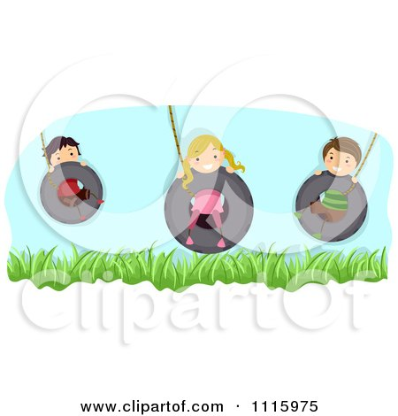 Clipart Happy Kids Playing On Tire Swings - Royalty Free Vector Illustration by BNP Design Studio