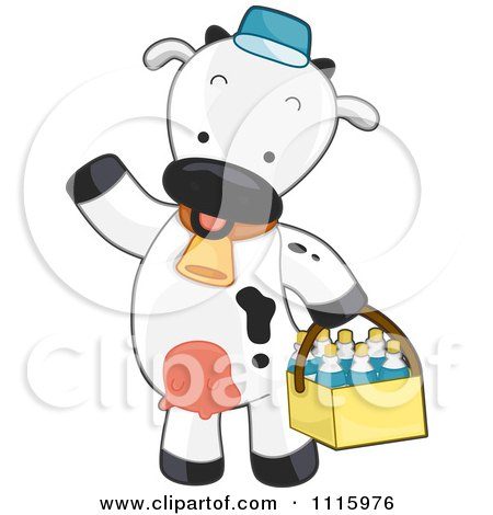 Clipart Cute Delivery Cow Carrying Milk Bottles In A Basket - Royalty Free Vector Illustration by BNP Design Studio
