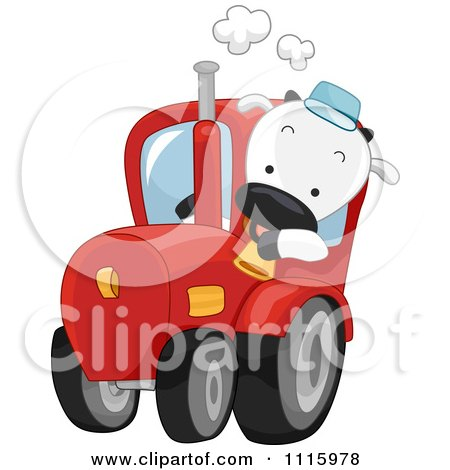 Clipart Happy Cow Driving A Farm Tractor - Royalty Free Vector Illustration by BNP Design Studio