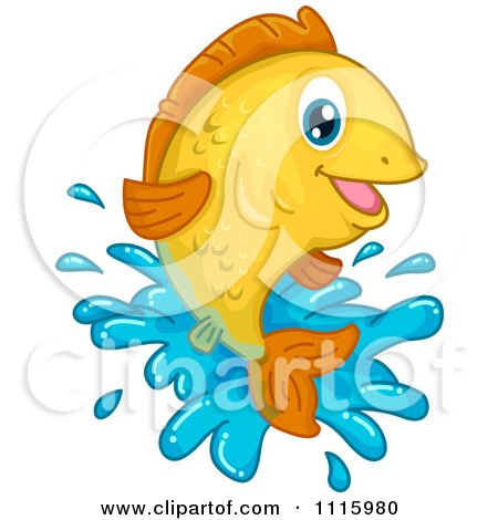 Clipart Happy Goldfish Leaping Out Of Water - Royalty Free Vector Illustration by BNP Design Studio