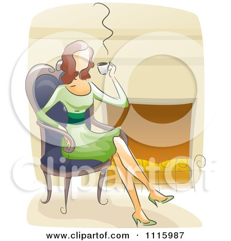 Clipart Watercolor Painted Woman Drinking Coffee By A Fireplace - Royalty Free Vector Illustration by BNP Design Studio